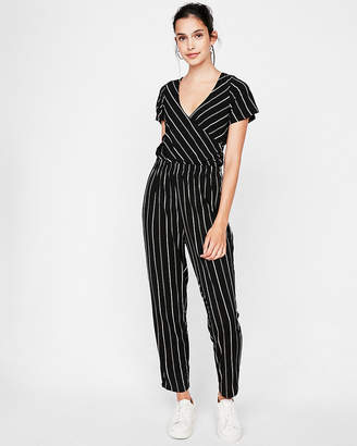 Express Striped Flutter Sleeve Surplice Jumpsuit