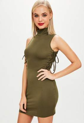 Missguided Khaki High Neck Lace Up Side Bodycon Dress