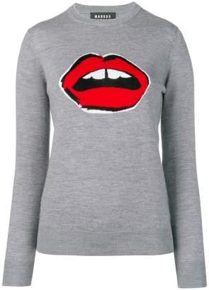 Markus Lupfer painted lip intarsia jumper