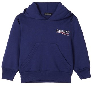 Balenciaga Kids - Logo Print Cotton Blend Hooded Sweatshirt - Blue Multi