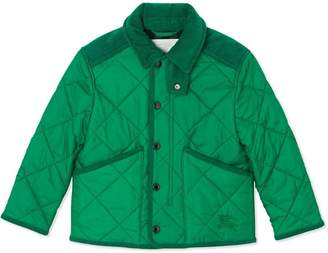 Burberry Corduroy Trim Diamond Quilted Jacket