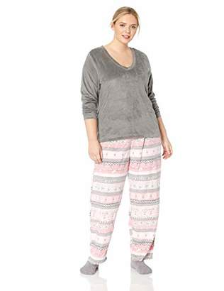 Hue Women's Plus Size Sueded Fleece Long Sleeve Tee and Pant 3 Piece Pajama Set,1X