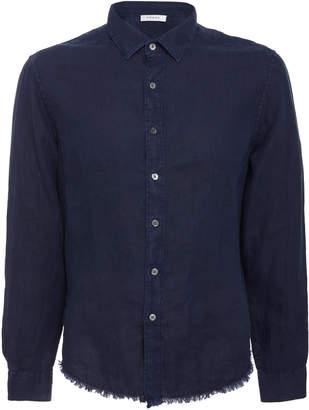Frame Fray Hem Long Sleeve Linen Shirt