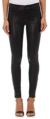 J Brand Women's 811 Mid-Rise Skinny Leather Pants - Black