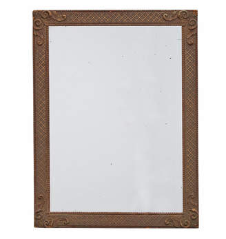 Rejuvenation Revival-Style Mirror w/ Patterned Wood Frame