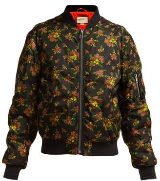 Gucci Floral Print Bomber Jacket - Womens - Black Multi