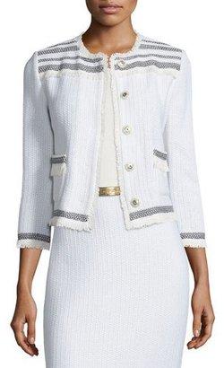 St. John Collection Berber Knit 3/4-Sleeve Jacket, Cream/Caviar $1,595 thestylecure.com