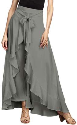 Liran Women's Casual Tie Front High Waisted Wide Leg Palazzo Long Skirt Pant US