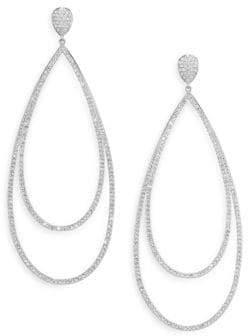 Adriana Orsini Pave Crystal Double-Tier Drop Earrings/Silvertone