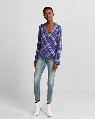 Express Blue Plaid Surplice Blouse