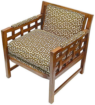 One Kings Lane Vintage 1960s Greek Key Club Chair - Vermilion Designs