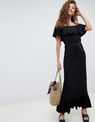 Asos DESIGN off shoulder maxi sundress with tiered skirt