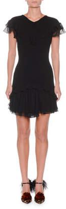 Giambattista Valli V-Neck Cap-Sleeve Ribbed Stretch-Wool Dress w/ Ruffled Hem