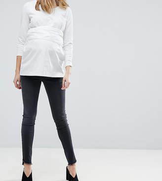 Mama Licious Mama.licious Mamalicious Over Bump Slim Jeans with Frayed Hem