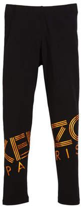 Kenzo Metallic Logo-Print Leggings, Size 14-16