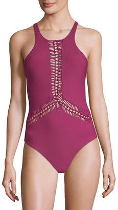 Red Carter High-Neck One-Piece