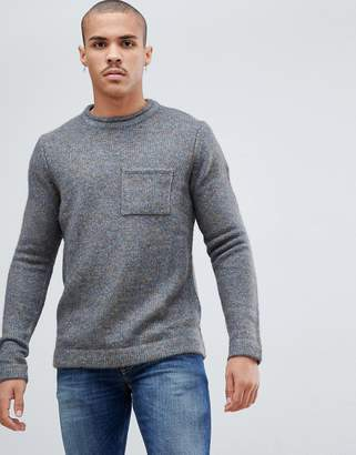 Bellfield Brushed Wool Mix Sweater With Pocket