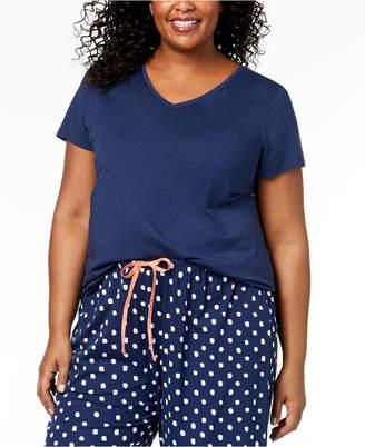 Hue Plus Size Solid V-Neck Pajama Top