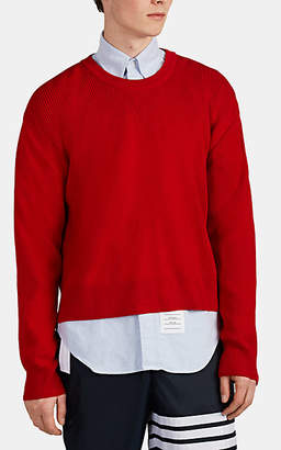 Thom Browne Men's Textured Rib-Knit Wool High-Low Sweater - Red