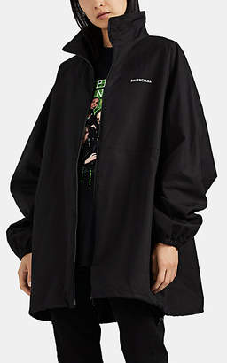 Balenciaga Women's Logo-Embroidered Cotton Oversized Jacket - Black