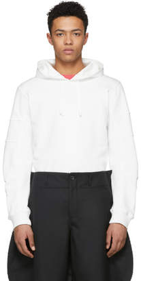 Comme des Garcons White Panelled Sleeve Hoodie