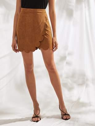 Shein Scallop Edge Wrap Suede Skirt