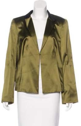 Akris Silk Notch-Lapel Blazer Olive Silk Notch-Lapel Blazer