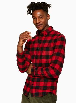 TopmanTopman Red Check Long Sleeve Shirt*