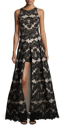 Alice + Olivia Richie Sleeveless Lace Romper Gown, Black/Nude $1,095 thestylecure.com