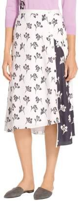 St. John Falling Flower Print Skirt