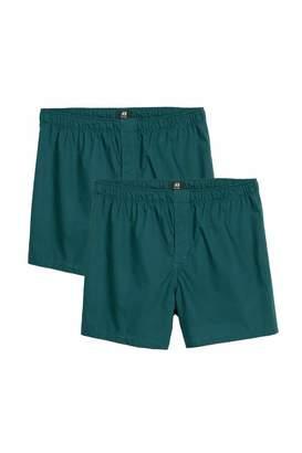 H&M Woven Pima Cotton Boxer Shorts - Teal - Men
