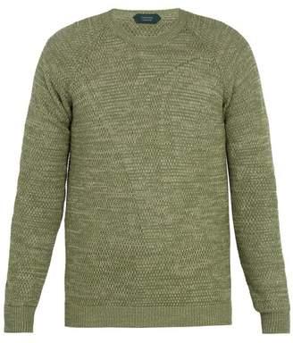 Zanone - Crew Neck Linen Cotton Knit Sweater - Mens - Green