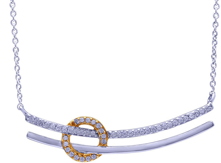 FINE JEWELRY 1/5 CT. T.W. Diamond Two-Tone Necklace