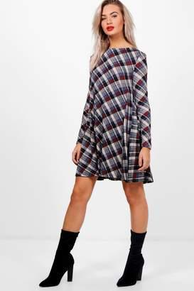 boohoo Diagonal Check Brush Knit Swing Dress