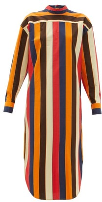 Colville - Striped Lace Up Back Cotton Poplin Shirtdress - Womens - Multi