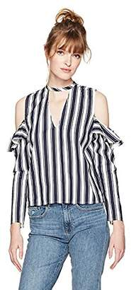 Serene Bohemian Women's Frilled Sleeves Cold Shoulder Top (XXL)