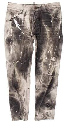 DSQUARED2 Cropped Acid Wash Jeans