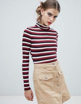 New Look stripe rib roll neck in burgundy
