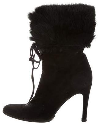 Gucci Fur-Trimmed Suede Boots