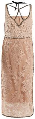 No.21 No. 21 - Crystal Embellished Floral Lace Dress - Womens - Nude