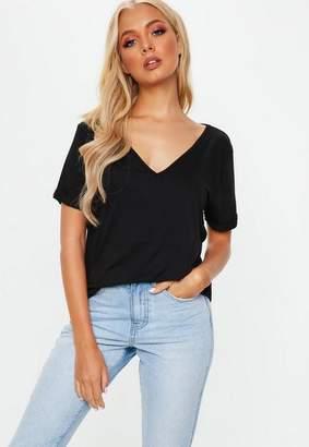 Missguided Boyfriend V-Neck Short Sleeve T-Shirt Black