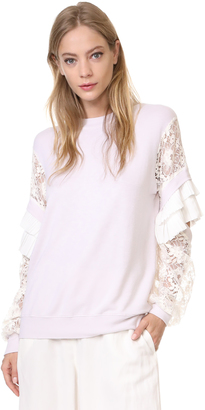 Clu Pleat Trimmed Lace Sleeve Pullover $394 thestylecure.com