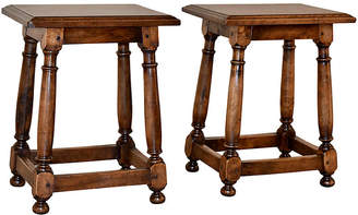 One Kings Lane Vintage 19th-C. Walnut Stools - Set of 2 - Black Sheep Antiques