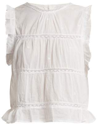 Pour Les Femmes - Ruffle Trimmed Sleeveless Cotton Top - Womens - White
