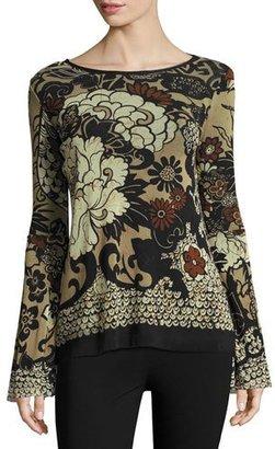 Fuzzi Bell-Sleeve Tie-Neck Top, Black Pattern $425 thestylecure.com