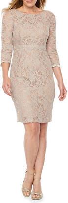 Jackie Jon 3/4 Sleeve Beaded Lace Sheath Dress