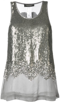 Twin-Set sequin embellished tank top $247.60 thestylecure.com