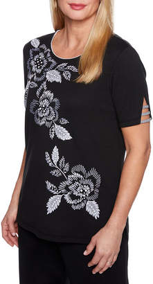 Alfred Dunner Play Date Short Sleeve Crew Neck Floral T-Shirt-Womens