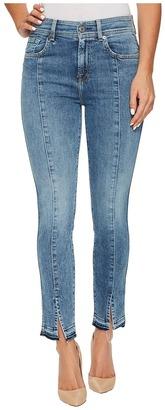 7 For All Mankind - The Ankle Skinny w/ Seams Front Splits in Rockaway Beach Women's Jeans