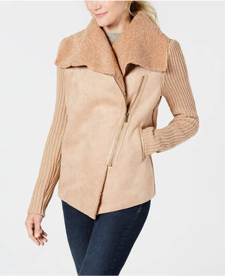 Style&Co. Style & Co Plus Size Faux Shearling Knit-Sleeve Jacket